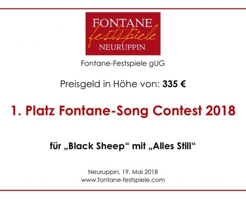 Black Sheep beim Fontane Song Contest mit Alles still